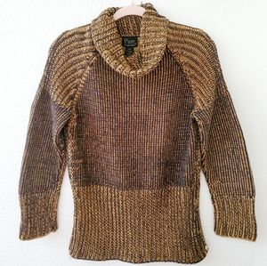 Pure Handknit Cowl Turtleneck Sweater S/M